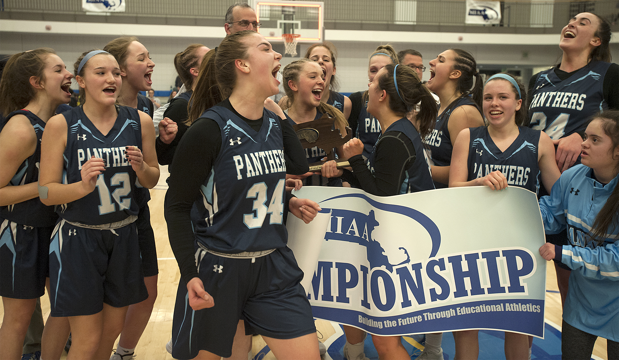 3/8/19-- WORCESTER-- Franklin's Megan O'Connell (#34), who scored the game winning put-back at the buzzer, screams after defeating Wachusett in the Central Mass. Div. 1 championship at Worcester State University Friday night, 61-60.   [Daily News and Wicked Local Staff Photo/Art Illman]