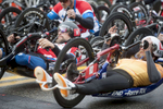 4/15/19--HOPKINTON--Boston Marathon handcycle competitors at the Boston Marathon starting line. [Daily News and Wicked Local Staff Photo/Art Illman]