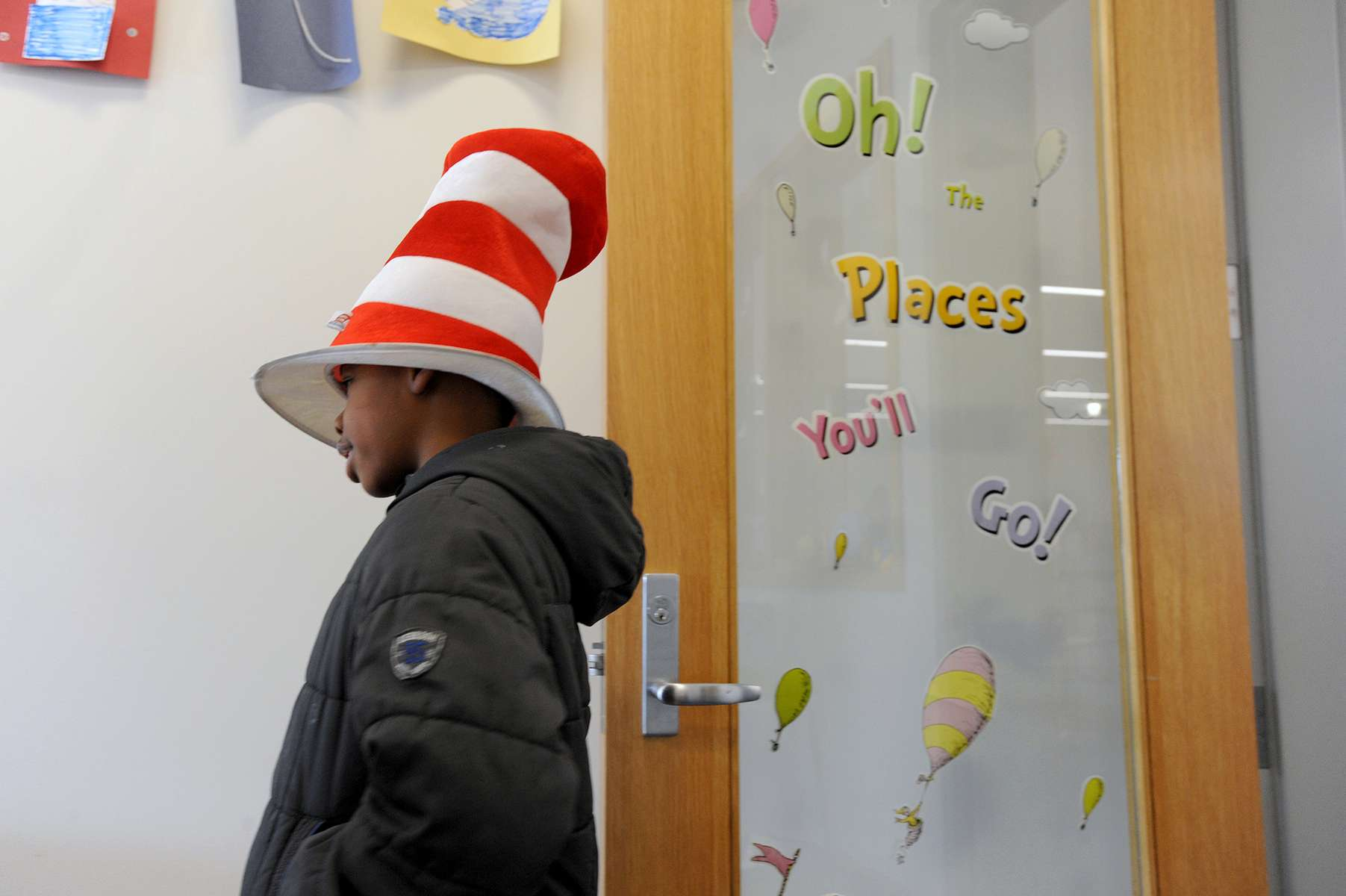 3/2/20-- FRAMINGHAM--  Abdul Sansio, 8, dressed appropriately for Dr. Seuss Day Crafts and Book Bingo at the McAuliffe Branch of the Framingham Public Library Monday, celebrating National Read Across America Day and Dr. Seuss's birthday.  [Daily News and Wicked Local Staff Photo/Art Illman]