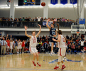 The last shot before COVID-19.  High School basketball tournaments were underway when the coronavirus hit.  On March 6, 2020,  Franklin High School senior guard  Brayden Sullivan with a last second shot in the Division 1 Central Division Finals at Worcester State University Friday night.  St John's won, 56-55. [Daily News and Wicked Local Staff Photo/Art Illman]