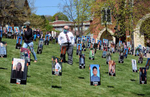5/14/20-- MARLBOROUGH-- Marlborough School Committee member Dan Caruso walks through some 250 Marlborough High School senior portraits planted on the hill in front of the Walker Buliding Thursday afternoon.  [Daily News and Wicked Local Staff Photo/Art Illman]