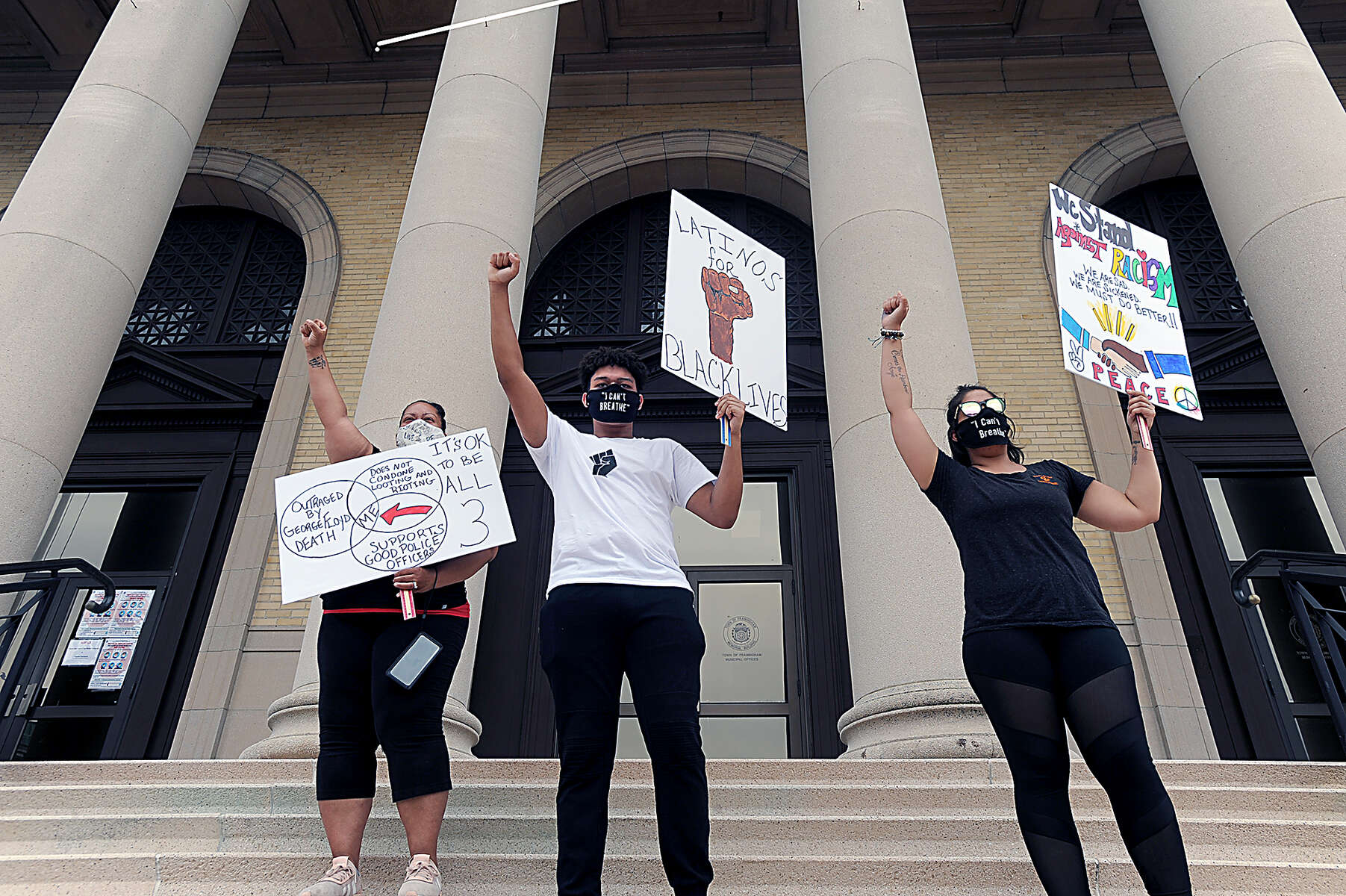 6/3/20-- FRAMINGHAM-- Noah Montano, 16, of Framingham, a sophomore at Keefe Technical High School, center, led a Black Lives Matter march and rally from the City Hall steps Wednesday.   [Daily News and Wicked Local Staff Photo/Art Illman]