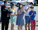 6/4/20-- FRAMINGHAM-- Applause from family members as Saint Bridget School held a physically distanced outdoor graduation for 27 eighth grade graduates Thursday morning. [Daily News and Wicked Local Staff Photo/Art Illman]