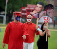 7/24/20-- WALTHAM-- Waltham High School graduate Michael DeGouff arrives at Leary Field with his parents, Rick and Pam, for a socially distanced graduation ceremony Friday evening, July 24, 2020.  [Daily News and Wicked Local Staff Photo/Art Illman]