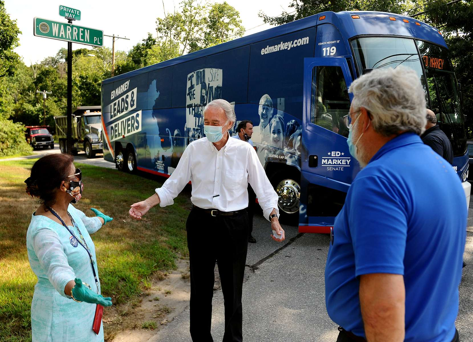 8/14/20-- WESTON-- Sen. Ed Markey is greeted by Muslim-American activist Nazda Alam, left,  outside her Weston home before a rally for immigration rights and protections for Muslim-Americans Friday afternoon.  At right is Weston Democratic  Town Committee Chairman John Hennessey.    [Daily News and Wicked Local Staff Photo/Art Illman]