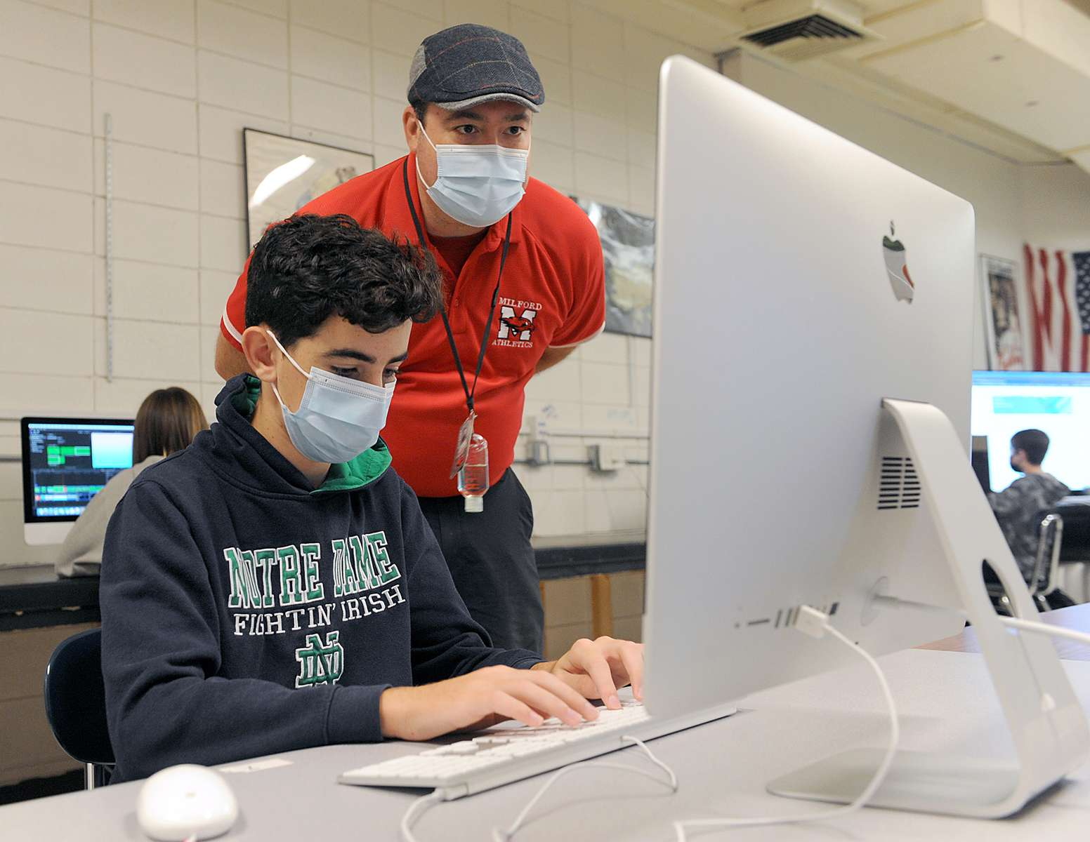 10/15/20- MILFORD - At Milford High School, ninth grader Joe Pezza edits a video with Final Cut Pro in teacher Jeremy Folster's video production class.  [Daily News and Wicked Local Staff Photo/Art Illman]