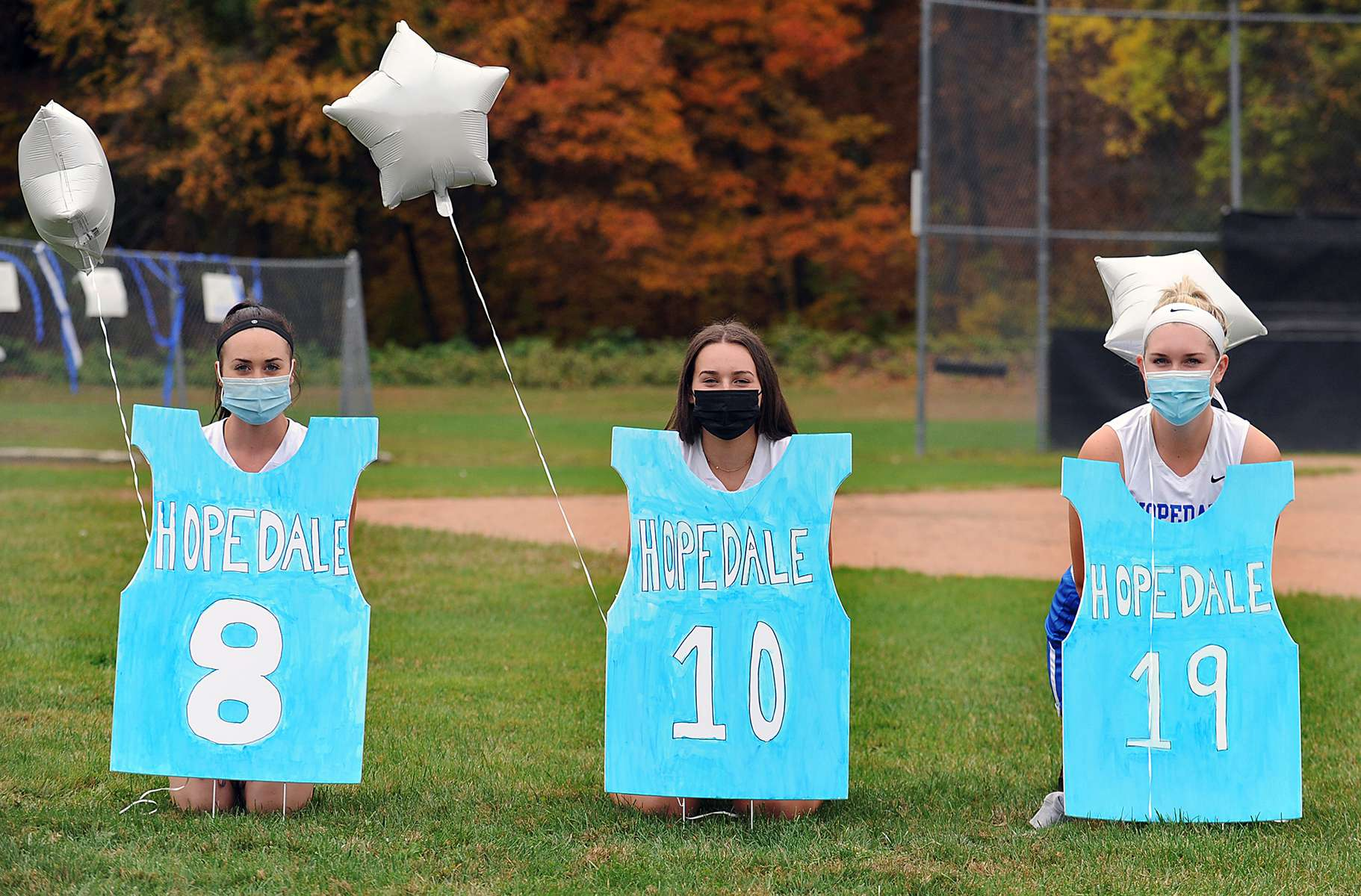 "10/20/20-HOPEDALE-  It was Hopedale High School field hockey ""senior night"" Tuesday afternoon at Draper Field for from left: Gianna DeRienzo, Carly Smith, and Maeve Griffin. [Daily News and Wicked Local Staff Photo/Art Illman]"