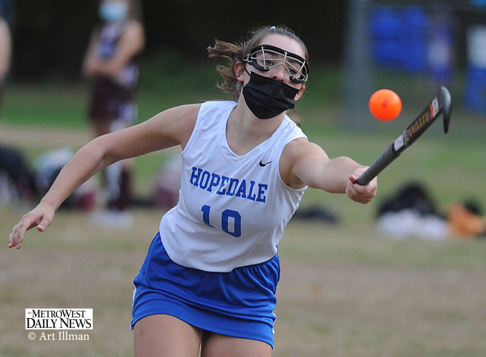"10/20/20-HOPEDALE-  It was Hopedale High School field hockey ""senior night"" Tuesday afternoon at Draper Field. Hopedale defeated Northbridge, 3-1.  Pictured, Carly Smith reaches for the ball. [Daily News and Wicked Local Staff Photo/Art Illman]"