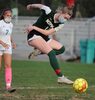 10/23/20-UPTON- Nipmuc High School junior Catherine Flanagan takes a shot against Whitinsville-Christian on senior day Friday afternoon. [Daily News and Wicked Local Staff Photo/Art Illman]