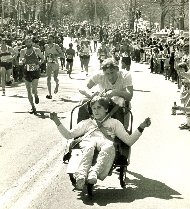 Dick and Ricky Hoyt pictured  in the early 1980s heading up Heartbreak Hill.  2012 marks the 30th anniversary for the Hoyts.