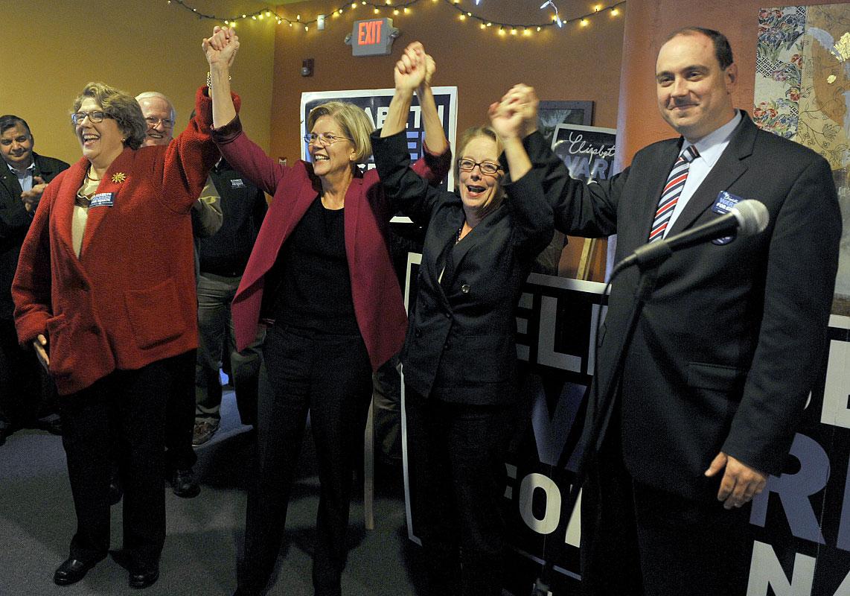Days before the election, then U.S. Senate candiidate Elizabeth Warren held a rally at the Harvest Cafe in Hudson. Warren defeated U.S. Sen. Scott Brown. From left: State Rep. Kate Hogan, Elizabeth Warren, U.S. Rep. Niki Tsongas and state Sen. Jamie Eldridge.