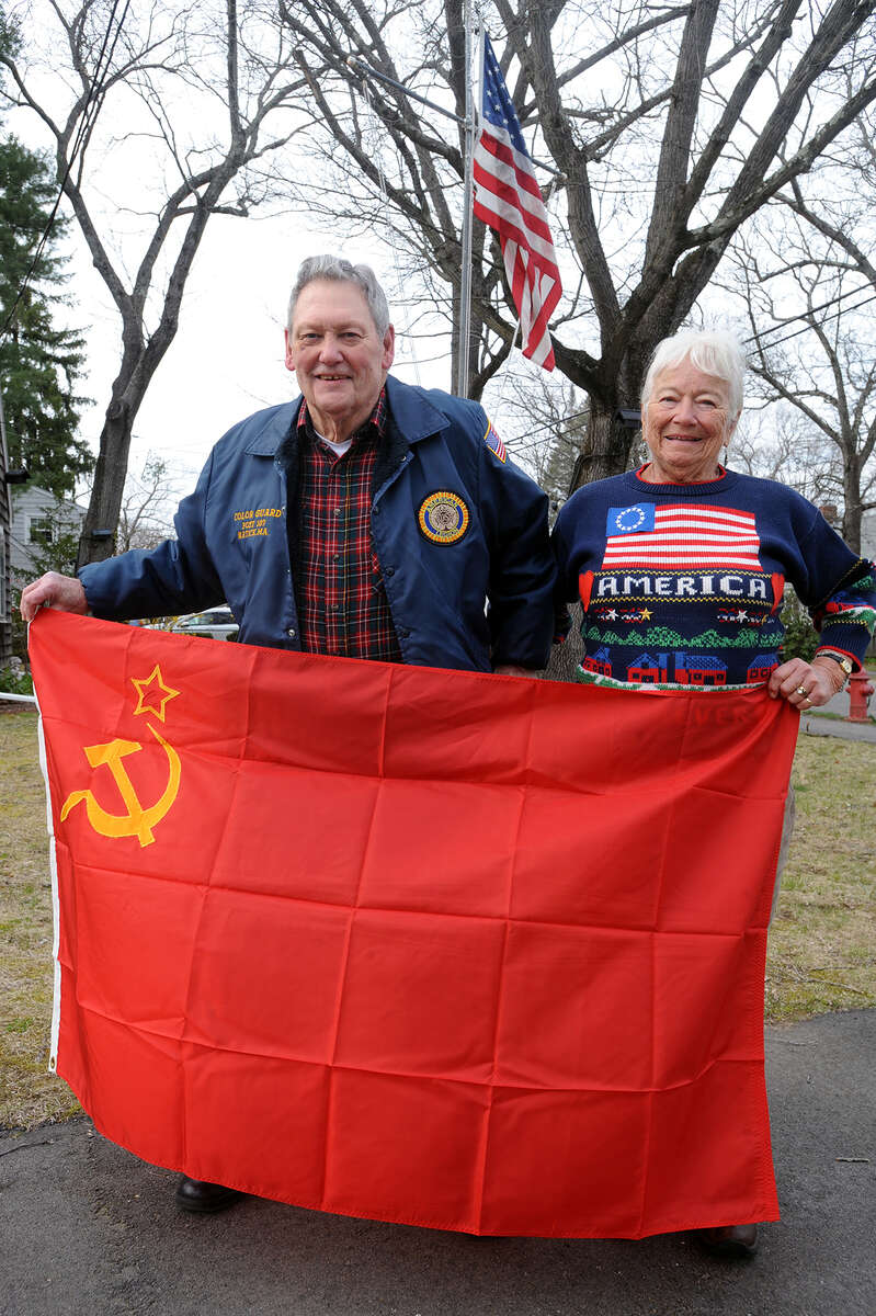 Bonnie and Marty Grady on their Natick front lawn in April. [Daily News and Wicked Local Staff Photo/Art Illman]