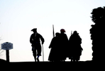 Sudbury's Minute and Militia reenactors march to Concord Patriots Day morning.  Daily News Staff Photo/Art Illman