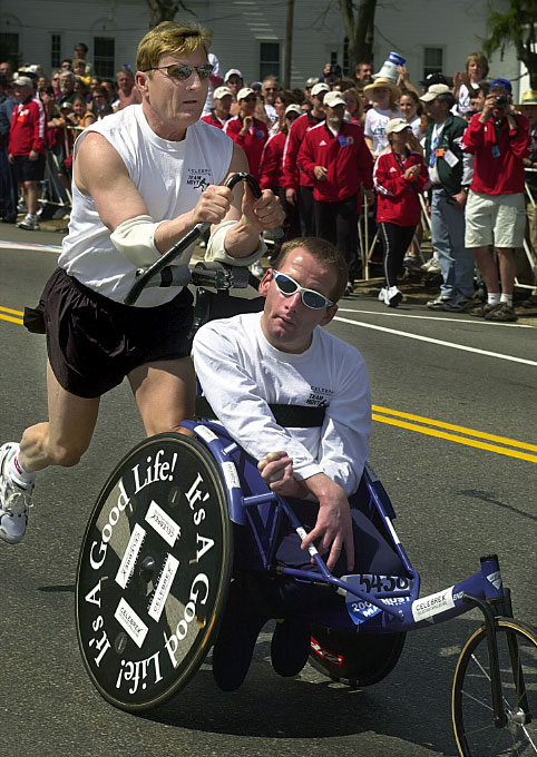 Ricky and Dick Hoyt in 2004.