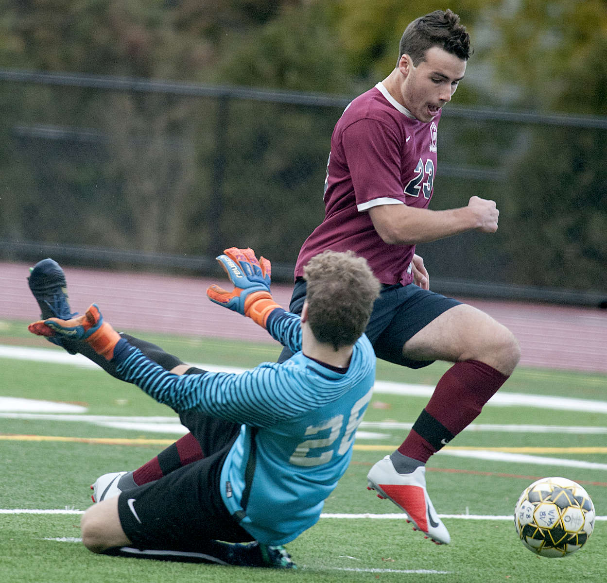 10/29/18-- WESTBOROUGH--  Westborough captain Jake Hughes on his scoring play in the first half against Groton-Dunstable Monday.  ]Daily News and Wicked Local Staff Photo/Art Illman]