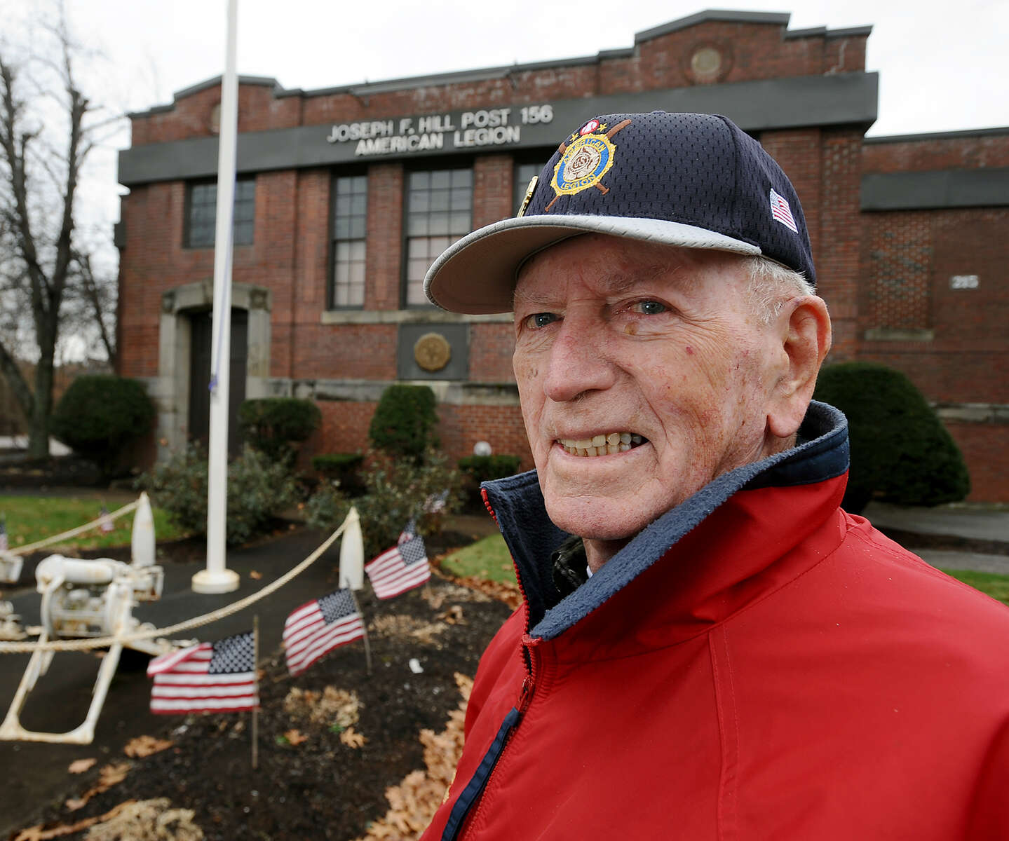 11/22/19-- WALTHAM-- John P. {quote}Jake{quote} Comer, of Quincy, Past National Commander of the Amnerican Legion, in front of the Joseph F. Hill American Legion Post 156 in November 2019. [Daily News and Wicked Local Staff Photo/Art Illman]