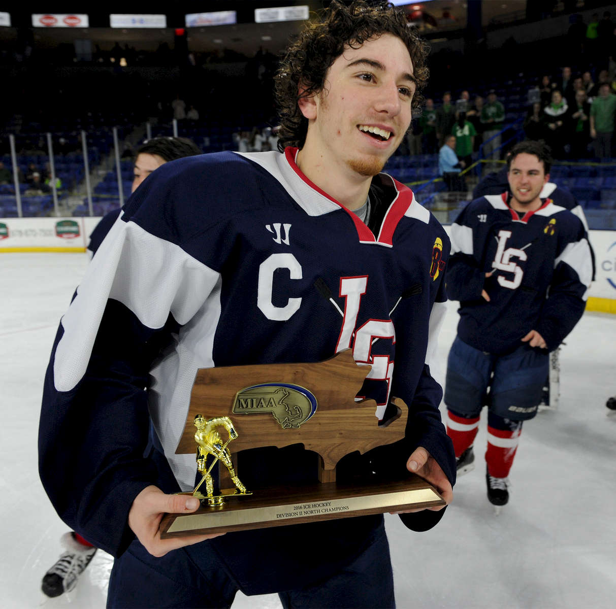 3/14/16-- LOWELL --  Lincoln-Sudbury senior captain  #19 Myles Cohen skates off the ice at Tsongas Arena after defeating Marblehead in the Division 2 North boys hockey championship game Monday evening.Daioly News and Wicked Local Staff Photo/Art Illman