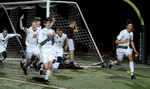 11/16/16-- BOLTON--  Westborough's Tyler Stott, right, after making the game winning header in overtime against Amherst Wednesday night at Nashoba Regional High  School. Also celebrating from left: Michael Reh; Spencer Nagi; Chris Amador; Dan Bugaev.Daily News and Wicked Local Staff Photo/Art Illman