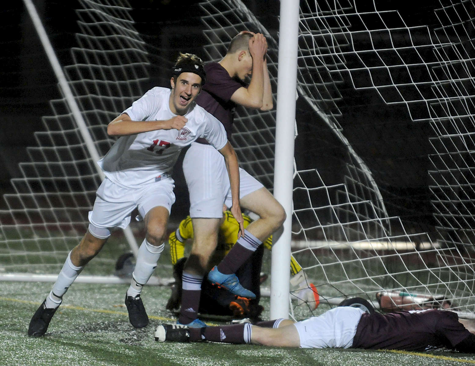 11/16/16-- BOLTON--  Westborough's Tyler Stott after making the game winning header in overtime against Amherst Wednesday night at Nashoba Regional High  School. Daily News and Wicked Local Staff Photo/Art Illman