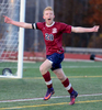 11/11/16-- BOLTON-- Westborough senior captain Spencer Nagi celebrates after scoring a penalty kick in overtime to defeat Wachusett, 2-1,  to clinch the Div. 1 Central title at Nashoba Regional High School Friday afternoon.Daily News and Wicked Local Staff Photo/Art Illman