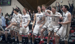 3/5/19-- WORCESTER-- Medway's bench erupts after Kyle Regan hit a three-pointer in the fourth quarter against Groton-Dunstable.  The Mustangs won 52-43 in the Central Mass. Div.2 semi finals Tuesday evening at Clark University. [Daily News and Wicked Local Staff Photo/Art Illman]