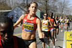 Boston Marathon fan favorite Kara Goucher at the first elite water station in Ashland in 2011.
