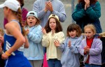 In 2006, cheering on runners in Framingham from left:  Heather Rotatori, 8; Emma Feinblatt, 8; Jill Rotatori, 5; Mackenzie Lee, 5.