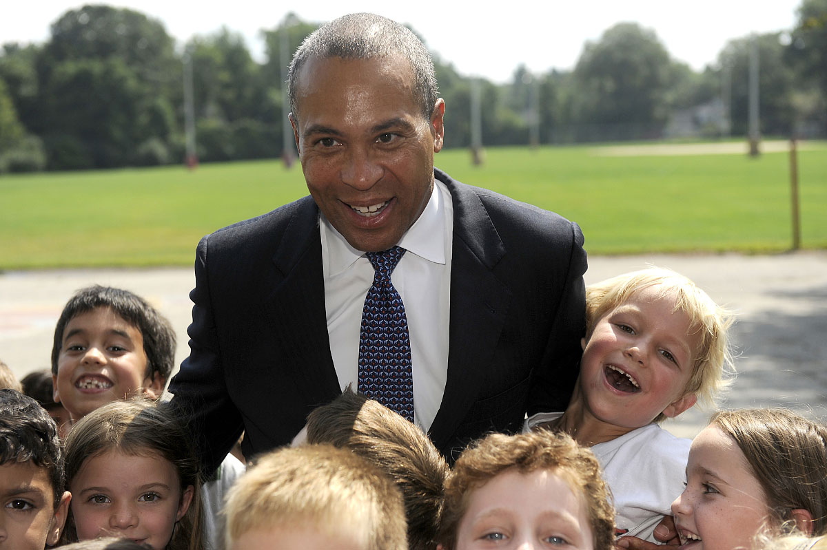 Gov. Deval Patrick  with Natick, MA school children