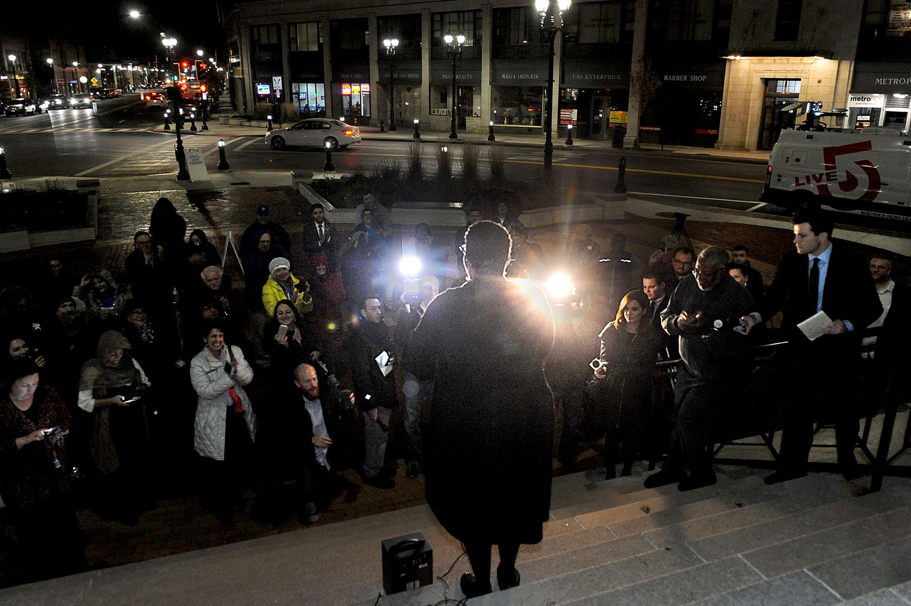 11/7/17  FRAMINGHAM-- Newly elected Framingham Mayor Yvonne Spicer outside the Memorial Building before speaking to supporters and the media Tuesday night. [Daily News and Wicked Local Staff Photo/Art Illman]