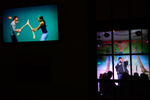 Comedian Max Mosquito performs while outside televisions are set up at  The Parrot Bar & Grill Thursday, Oct. 16, 2014 at The Old Naples Comedy Clib in Naples, Fla. As the only comedy club in Naples, the entertainment business celebrates its one-year anniversary late this month.