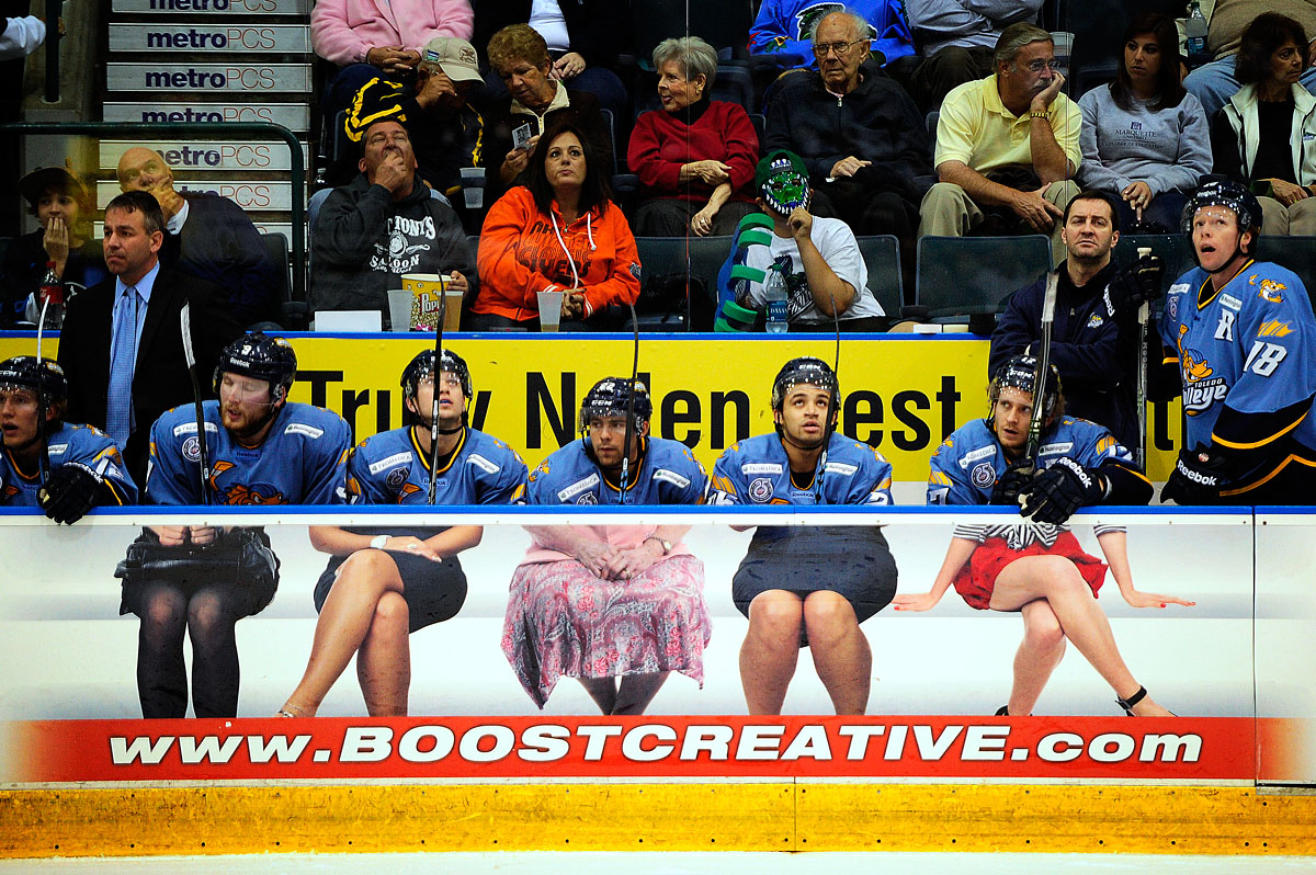 Toledo's bench falls victim to clever advertising while taking on Florida Wednesday, Jan. 9, 2012 at Germain Arena in Estero, Fla. The Everblades took on the Toledo Walleye during ECHL league action. Florida dominated 4-1.