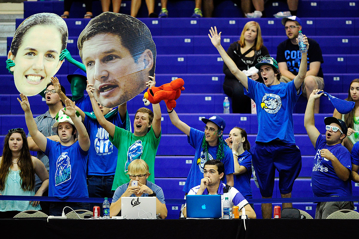 FGCU's student section does their bast to distract Mercer from free throws Saturday, March 15, 2014 at Alico Arena in Estero, Fla. The Eagles took on the Bears during the Atlantic Sun Conference Tournament semifinal matchup. FGCU advances to the final round after winning 64-47.