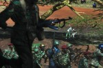 Kenyan Riot charge towards odinga supporters demonstrating in the slum of Kibera.