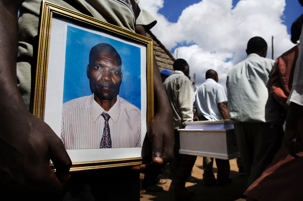 A funeral of a man killed in the violence in Nairobi, over a thousand people were killed in violence sparked fallowing the December elections.