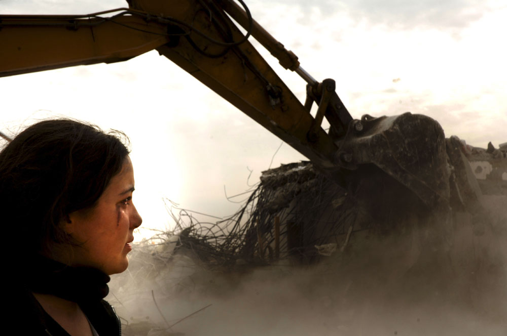 An Israeli settler girl cries as a house is being destroyed in the West Bank outpost of Amona.