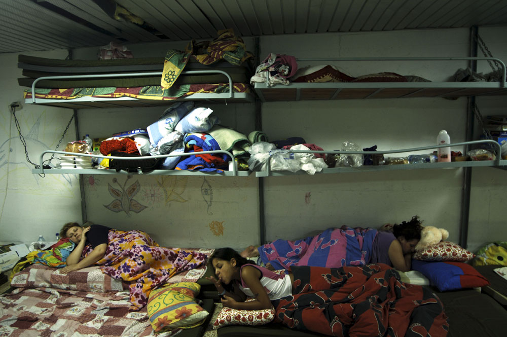 Israeli citizens sleep in an underground shelter during Hezbollah missile attack in the north of Israel.