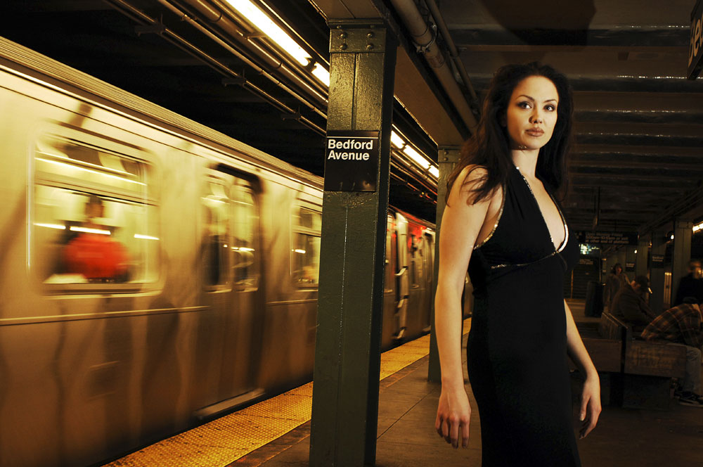 Tiffany Clause impersonates the famous actress, Angelina Jolie, in a subway station in New York City. New to the industry, Tiffany has only been impersonating Jolie for a year after a friend recommended she submit photos of herself to talent agencies.