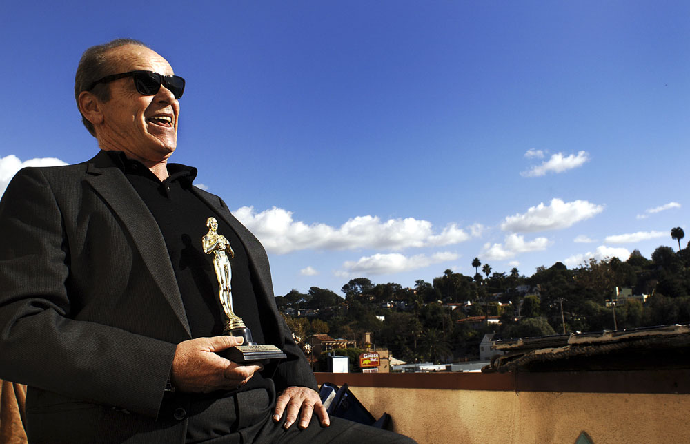Joe Richards holds a fake Oscar outside his beachfront apartment in Santa Monica as he impersonates the actor Jack Nicholson. For years Joe says he was {quote}lost{quote} in the Jack charector.