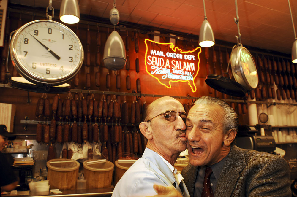 "Joseph Manuella impersonates Robert Dinero while greeting one of Katz's Delicatessen's oldest waitor, Richard, in New York City. Manuella has been impersonating the actor for over 30 years and has appeared as Deniro's stunt double in ""The Fan"" and ""Great Expectations."""