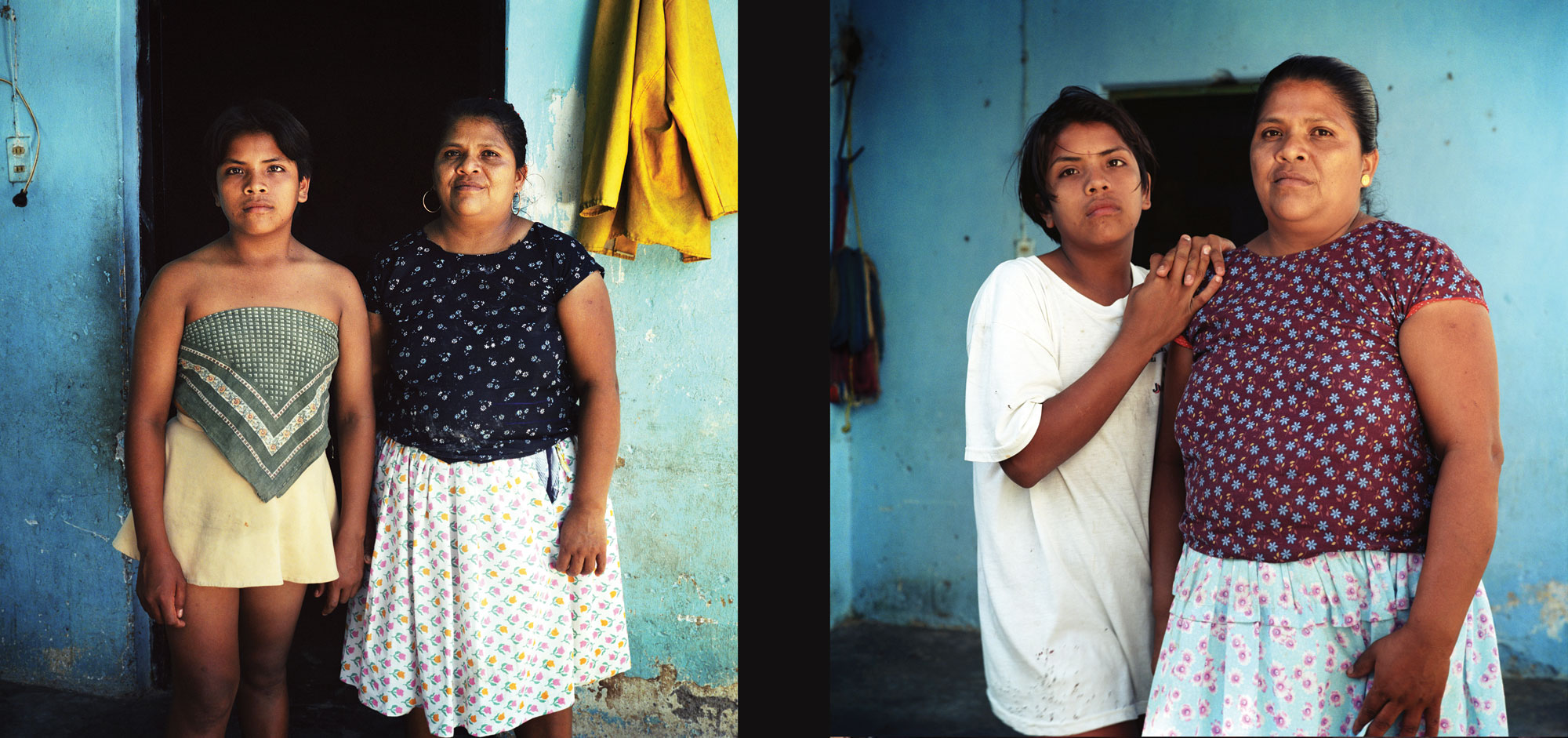 13 years old Bidal Aquino Guerra, stands with his mother Anatonia Guerra Aquino at the door in front of his house. At the age 13 Bidal switches from men to women's clothe constantly.