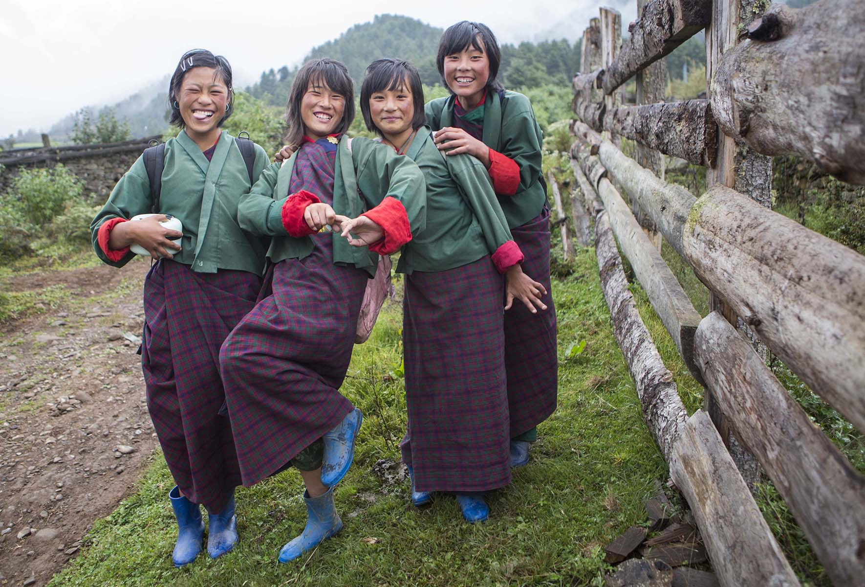 School Girls   Bhutan