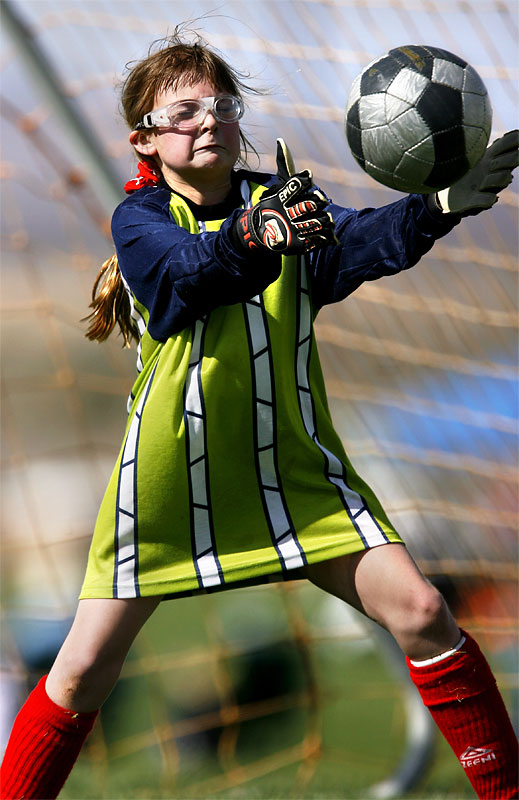 Jillian Sweeny goalie for Gallup's U-11 Red Lightning team, blocks a shot on goal during the 2006 New Mexico Cup.