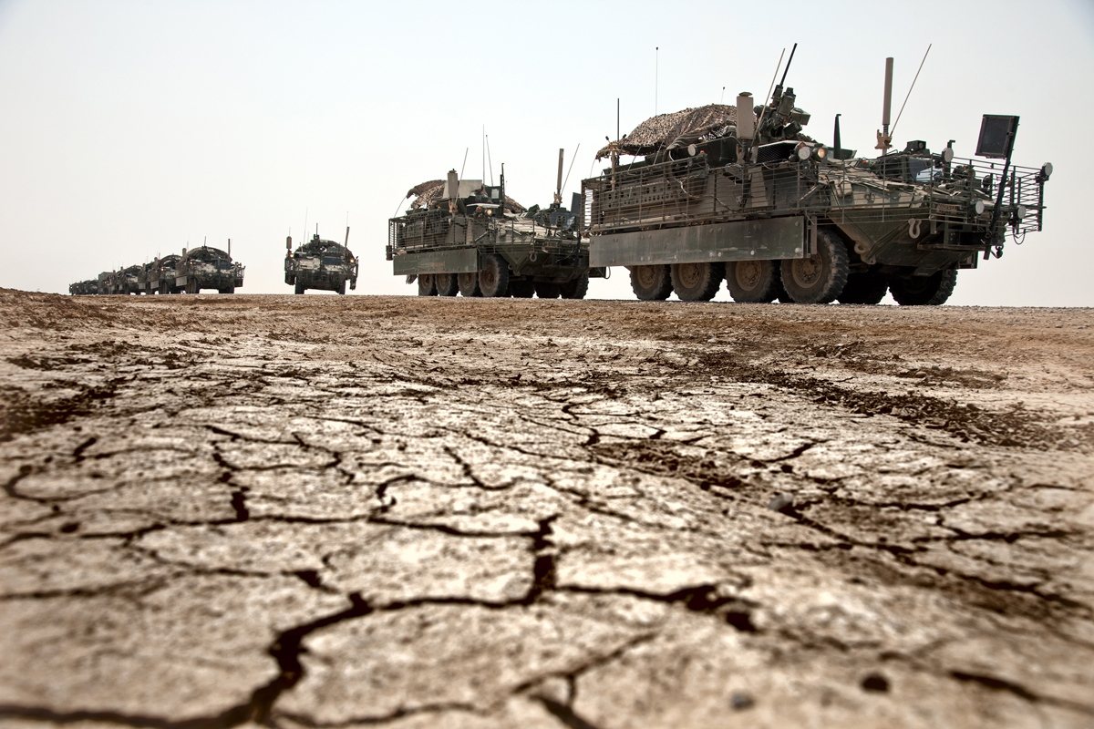 The members of the 4/2 Strykers Combat Battlion arriving in a convoy to C.O.B. Adder in Southern Iraq after a gruelling overnight journey from Baghdad en-route to Kuwait where they will be packing up and heading home. Iraq is preparing after US President Barack Obama has confirmed the end of all combat operations in the country by 31 August..Some 50,000 of 65,000 US troops currently in Iraq are set to remain until the end of 2011 to advise Iraqi forces and protect US interests.The remaining 50,000 troops will stay in the country in order to train Iraqi security forces, conduct counterterrorism operations and provide civilians with ongoing security, said Mr Obama..An agreement negotiated with the Iraqis in 2008 states that these troops must be gone from the country by the end of next year