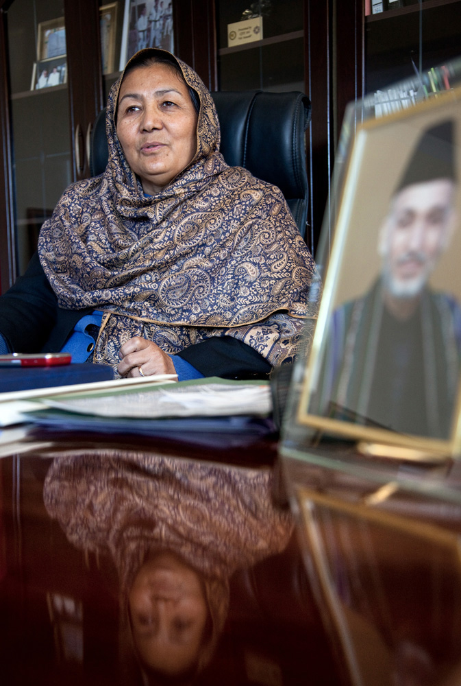 Images © Graham Crouch 2013Govenor of Bamiyan Province Habiba Sarabi at her office with portraits of Afghan president Hamid Karzai.  Ethnic Hazara's ,who have often made up vast numbers of refugees to Australia, having been persecuted and driven from their homes in both Afghanistan as well as from Quetta in Pakistan where a lot of displaced Hazara fled to during the Taliban years. Bamiyan is home to a lot of Hazara who are Shia muslim and as such are looked down upon by the Sunni Pashto tribes that make up the population majority in Afghanistan.