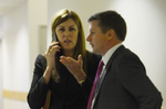 The Prime Minister's cheif of staff Peta Credlin objects to a photograph being taken of her during a media event.Melbourne, Victoria. © Tracey Nearmy for AAP