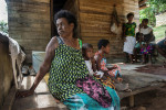 Buai seller and sole parent of 2 children and grandchildren , Lora Eric, sells to feed her family.  © Brian Cassey