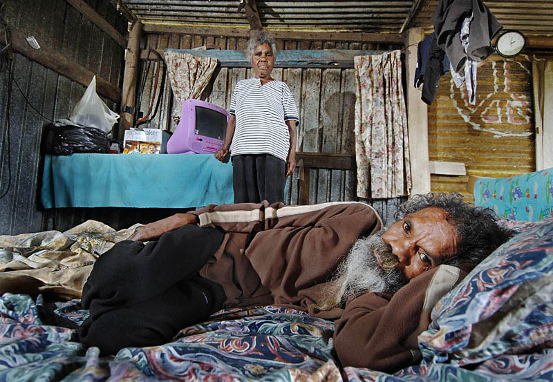 Bobby Baird and his partner Myrna Hobson at home in their shanty.  © 2007 Brian Cassey