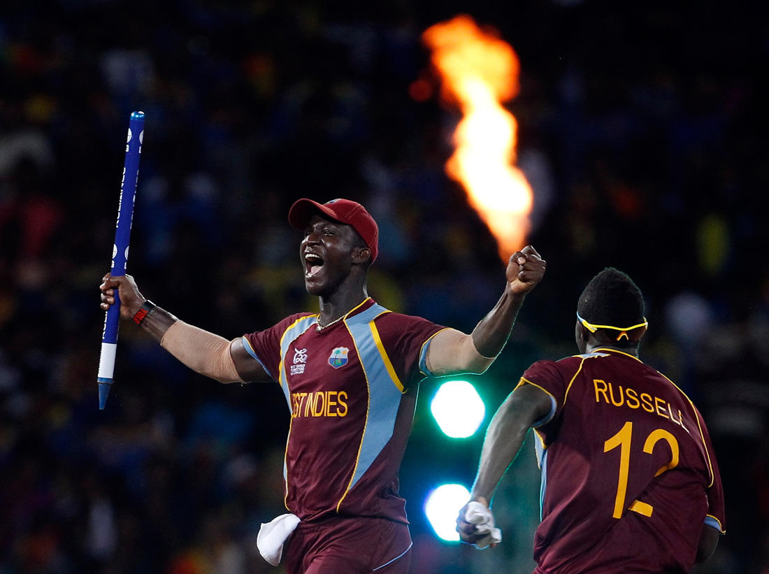 © GRAHAM CROUCH - 07.20.2012 West Indies captain Darren Sammy celebrates after winning in the ICC World Twenty20 2012 Final between Sri Lanka and West Indies in Colombo, Sri Lanka.