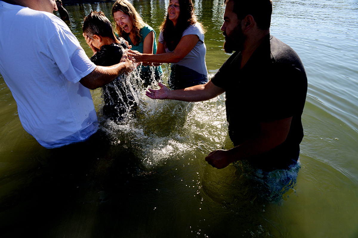 Members of the Vernon Alliance Church are baptised in Okanagan Lake.