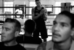 Danny chats with his brother Brendan (left) and other up-and-coming boxers after completing his hand wraps, prior to another training session.All pictures © Sam Mooy/NEWS LIMITED 2010